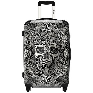 iKase Bohemian Art Skull 24-inch Hardside Spinner Upright Suitcase