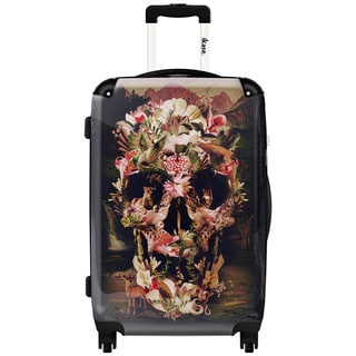 iKase Tropical Flower Skull 24-inch Hardside Spinner Upright Suitcase