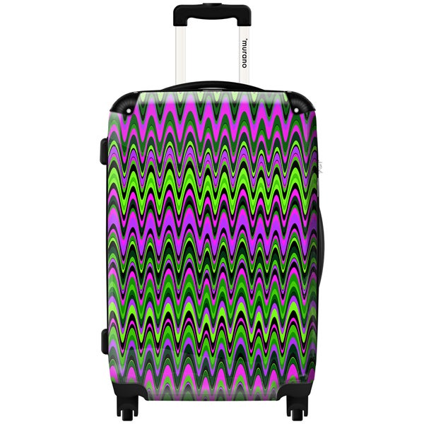 Murano by iKase Funky Zig Zag Green 24-inch Hardside Spinner Upright Suitcase