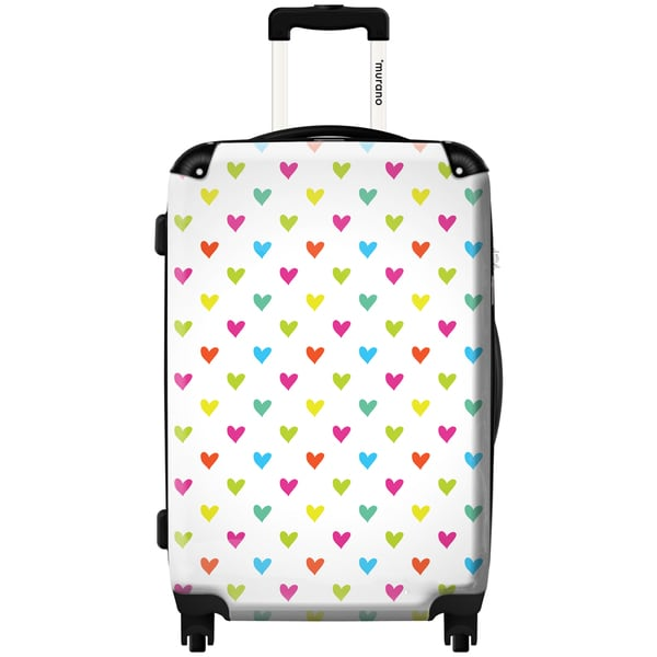 Murano by iKase Heart Pattern Multi Color 24-inch Hardside Spinner Upright Suitcase