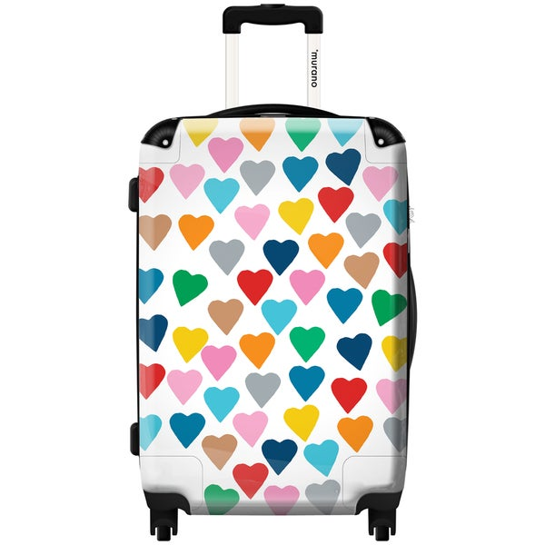 Murano by iKase Multicolor Hearts 24-inch Hardside Spinner Upright Suitcase