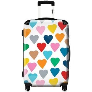 iKase Multicolor Hearts 24-inch Hardside Spinner Upright Suitcase