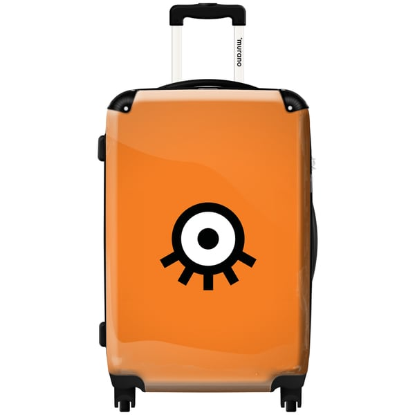 Murano by iKase Upside Down Eye Orange 24-inch Hardside Spinner Upright Suitcase