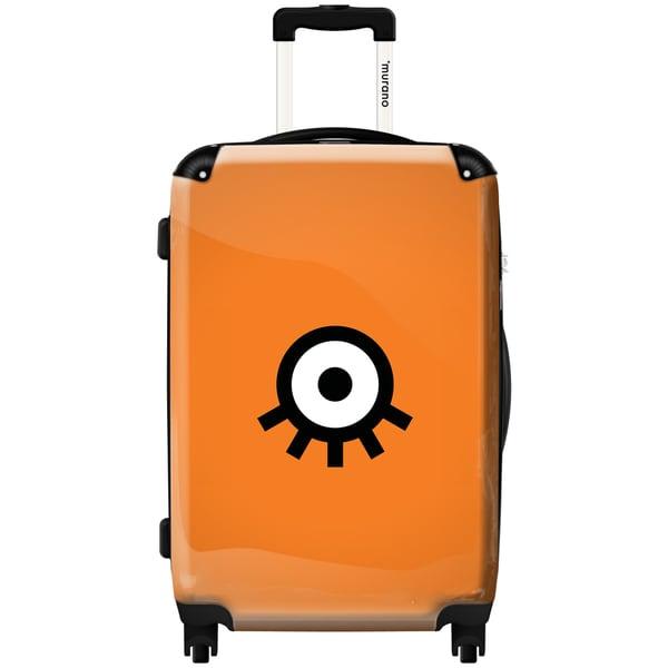 Murano by iKase Upside Down Eye Orange 24-inch Hardside Spinner Upright Suitcase