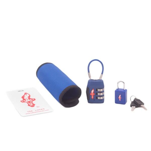 Safe Skies Blue TSA Single Luggage Lock Tag and Grip Set