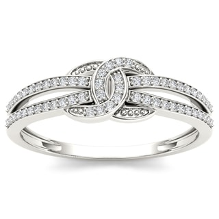 De Couer 10k White Gold 1/5ct TDW Diamond Knot Ring (H-I, I2)