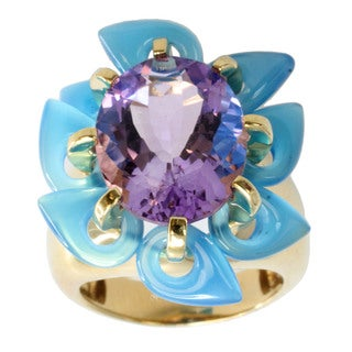 Michael Valitutti Gold Over Silver Amethyst and Blue Agate Ring