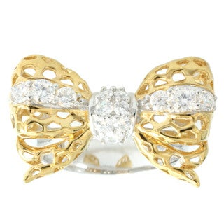 Michael Valitutti Two-tone Cubic Zirconia 'Bow' Ring