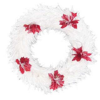 Homemade Hackle 15-inch Holiday Glitter/ Red Poinsettia Wreath