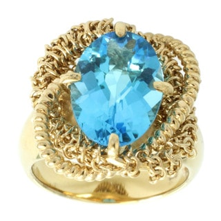 Michael Valitutti Gold Over Silver Swiss Blue Topaz Ring