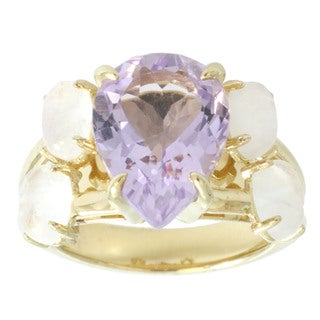 Michael Valitutti Gold Over Silver Pink Amethyst and Rainbow Moonstone Ring