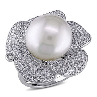 Miadora Signature Collection 14k White Gold South Sea Pearl 1 3/4ct TDW Diamond Flower Ring (G-H, SI1-SI2) (14-14.5 mm)