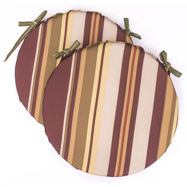 Dunes Club Burgundy Multi Stripe Bistro Cushions (Set of 2)