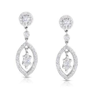 Eloquence 14k White Gold 1 1/10ct TDW White Diamond Dangle Earrings (H-I, I1-I2)