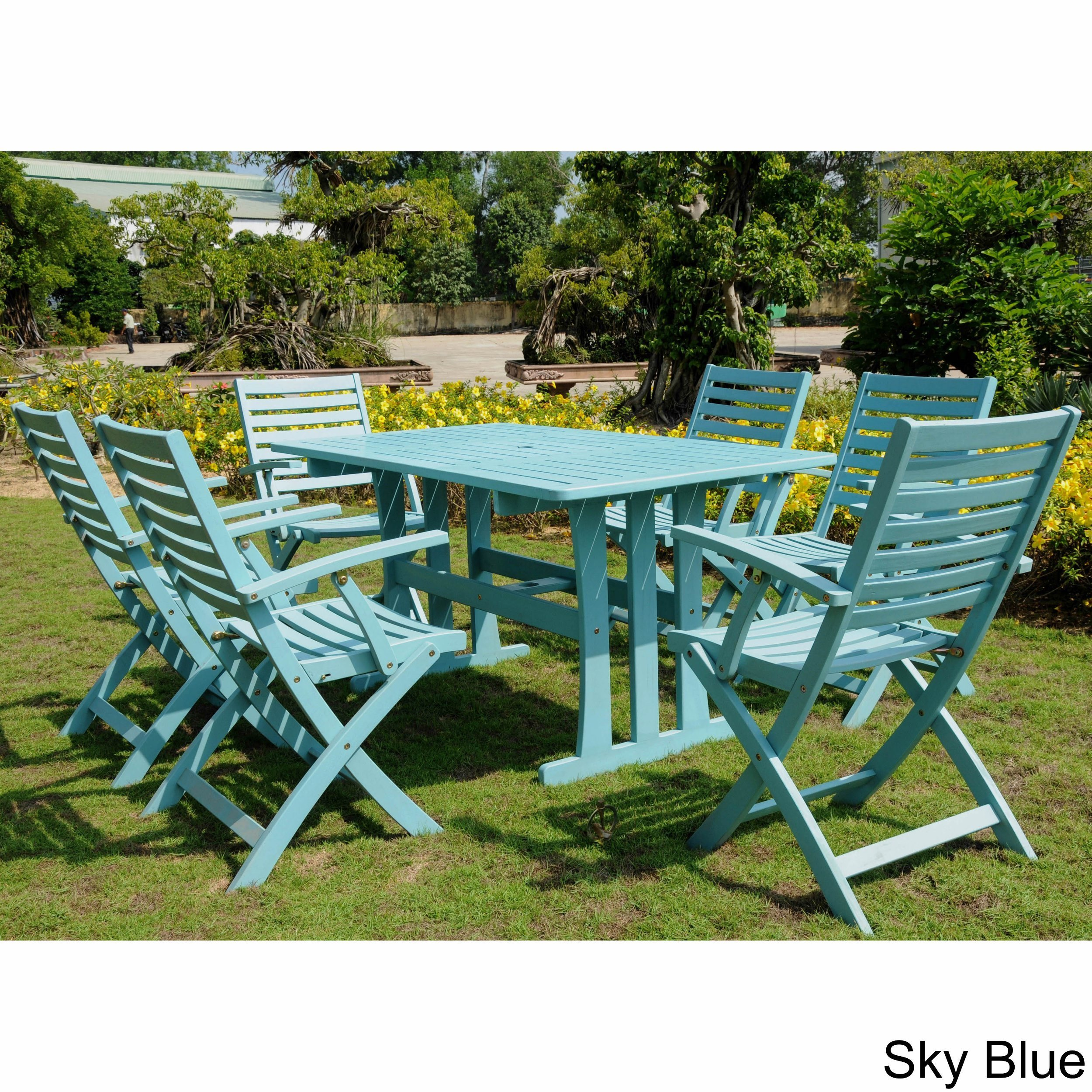 International Caravan Sciacca Stained Acacia Hardwood Outdoor 7-piece Dining Set
