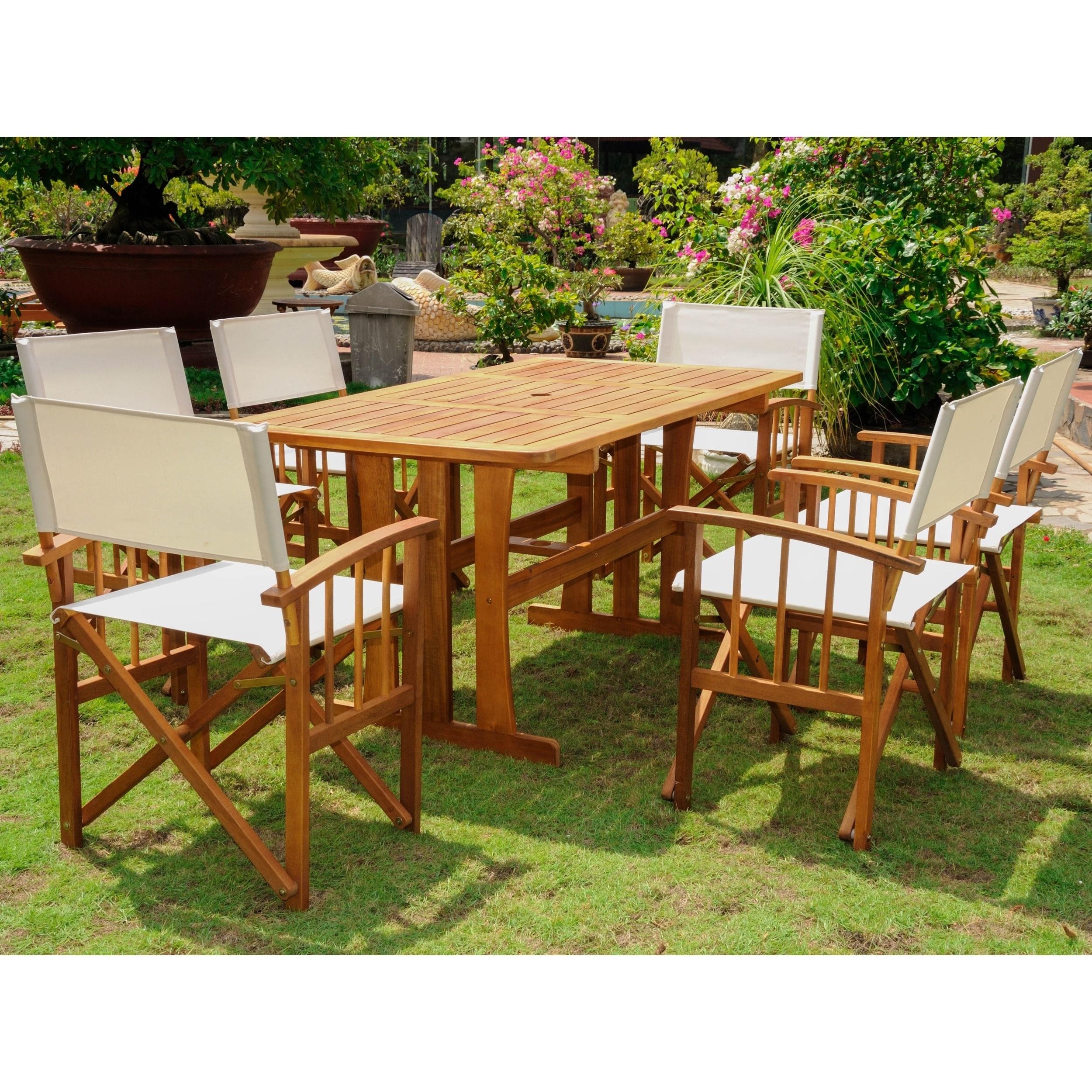 International Caravan Messina Acacia Hardwood Brown Outdoor 7-piece Dining Set at Sears.com