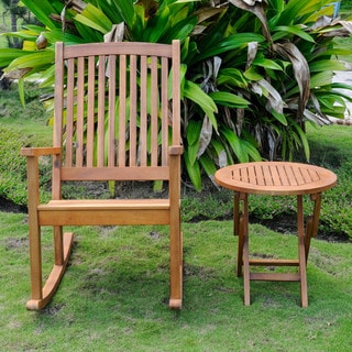 International Caravan Royal Fiji Stained Acacia Brown Rocking Chair and Side Table Set