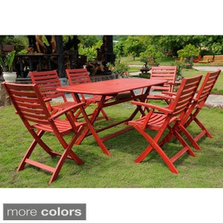 International Caravan Royal Fiji 'Isernia' Stained Acacia Hardwood Outdoor Folding 7-piece Dining Set