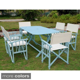 International Caravan Cariati Stained Acacia Hardwood Outdoor Folding 7-piece Dining Set