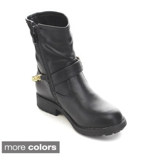 Via Pinky Aliya-02F Kid's Big Girls Metallic Chain Riding Boots
