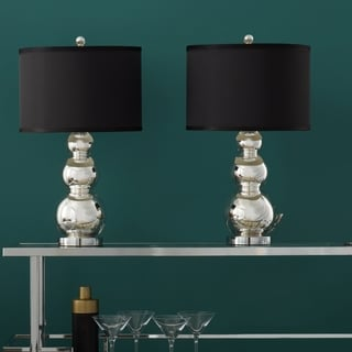 ABBYSON LIVING Mercury Glass Black Shade Table Lamp (Set of 2)