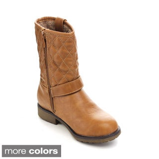 Via Pinky Aliya-01F Kid's Big Girls Quilted Riding Boots