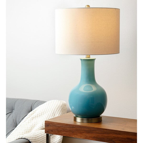 abbyson living gourd french blue ceramic table lamp 16811321. Black Bedroom Furniture Sets. Home Design Ideas