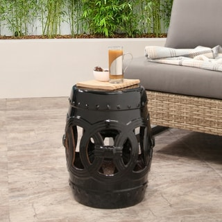 ABBYSON LIVING Moroccan Black Ceramic Garden Stool