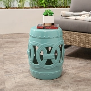 ABBYSON LIVING Moroccan Turquoise Ceramic Garden Stool