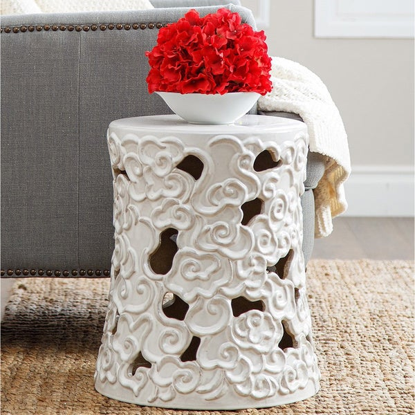 Abbyson Osla Antique White Ceramic Garden Stool 14355552