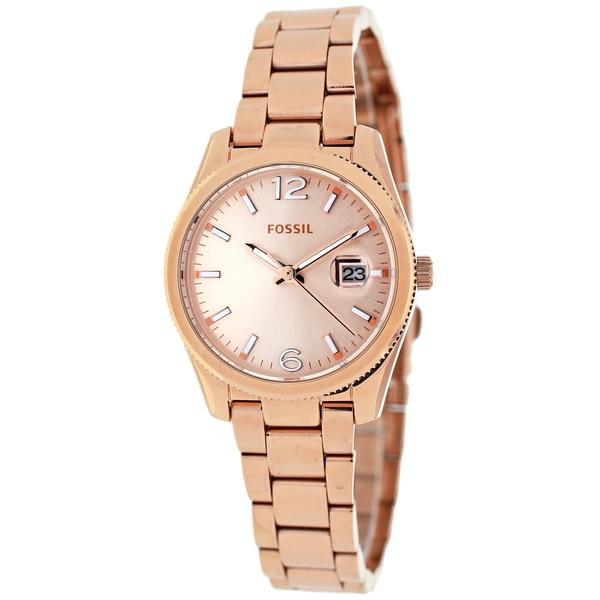 Fossil Women's ES3584 Boyfriend Round Rosegold Bracelet Watch