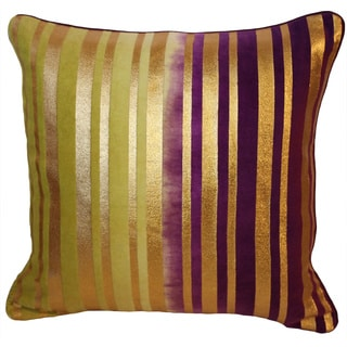 Decorative Stripes Velvet Foil Print Throw Pillow Cover