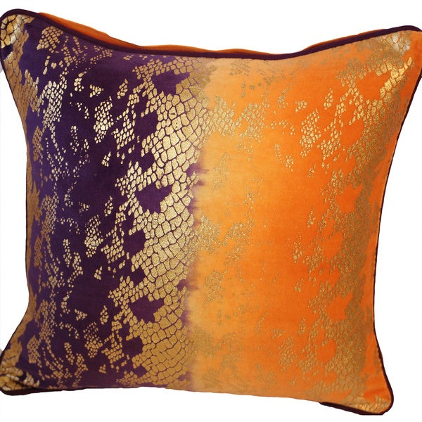 Auburn Textiles Blue/ Orange Foil Print Cotton Throw Pillow