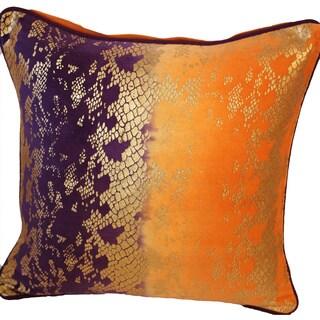 Auburn Textiles Blue/ Orange Foil Print Cotton Throw Pillow