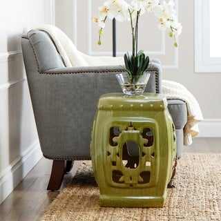 Abbyson Living Asian Ornate Lime Glazed Ceramic Garden Stool