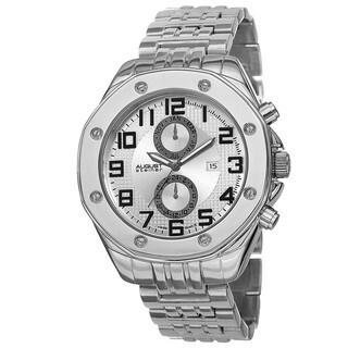 August Steiner Men's Swiss Quartz Dual Time Zone Multifunction Silver-Tone Bracelet Watch