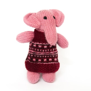 Sitara Collections Handmade Plush Pink Elephant in Frock (India)