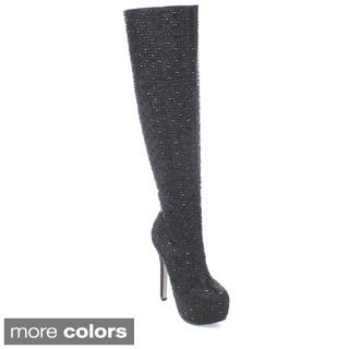 Bella Luna Sexy-03 Women's Rhinestone Ornament Over the Knee High Boots