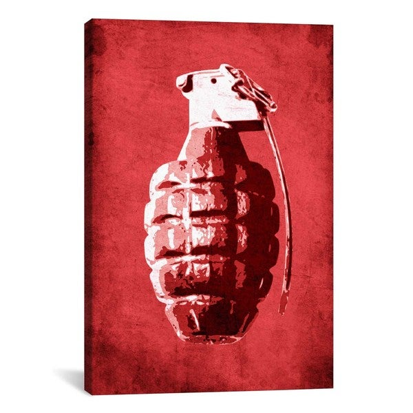 iCanvas Michael Thompsett Hand Grenade (Red) Canvas Print Wall Art