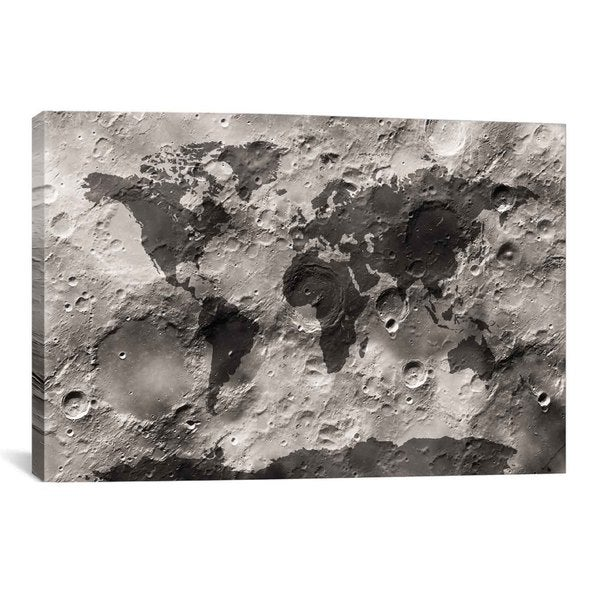 iCanvas Michael Thompsett World Map on The Moon's Surface Canvas Print Wall Art