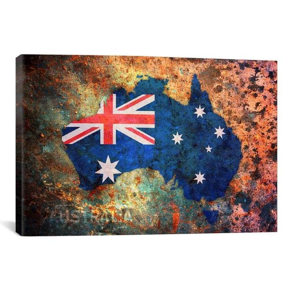 iCanvas Michael Thompsett Australia Flag Map Canvas Print Wall Art