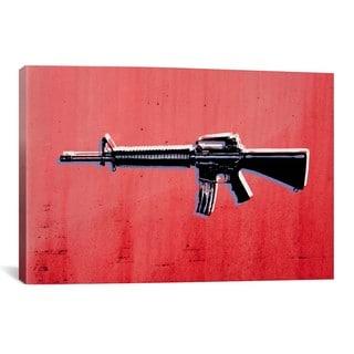 iCanvas Michael Thompsett M16 Assault Rifleon Red Canvas Print Wall Art