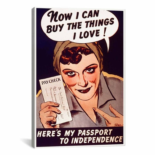 iCanvas Can't Buy Me Love (Vintage Poster) Canvas Print Wall Art