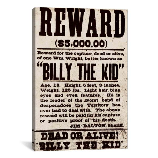 iCanvas Dead or Alive - Billy The Kid Canvas Print Wall Art