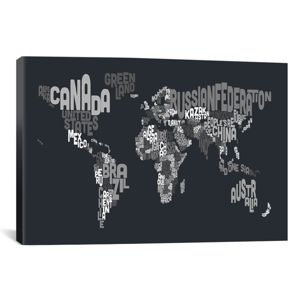 iCanvas Michael Thompsett Typographic Text World Map VII Canvas Print Wall Art