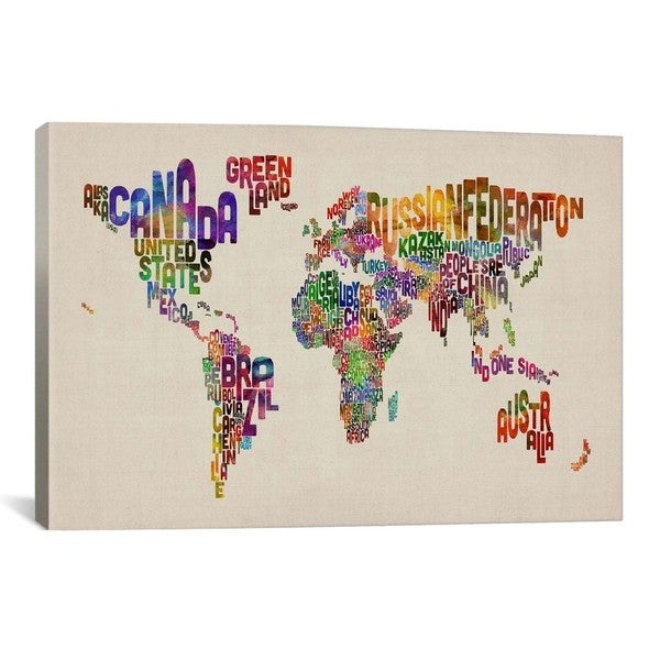 iCanvas Michael Thompsett Typographic Text World Map VIII Canvas Print Wall Art