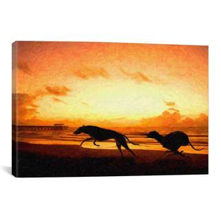 iCanvas Michael Thompsett Greyhounds on Beachat Sunset Canvas Print Wall Art