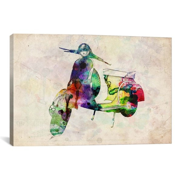 iCanvas Michael Thompsett Scooter Vespa (Urban) Canvas Print Wall Art