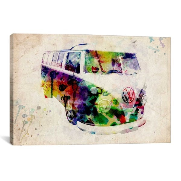 iCanvas Michael Thompsett VW Camper Van (Urban) Canvas Print Wall Art