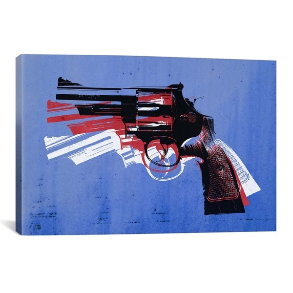 iCanvas Michael Thompsett Revolver (Magnum) on Blue Canvas Print Wall Art